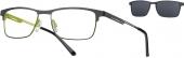 LOOK & FEEL BI 7005 Brille mit Sonnenclip grün-schwarz
