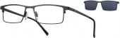 LOOK & FEEL BI 7004 Brille mit Sonnenclip schwarz-rot