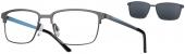 LOOK & FEEL BI 7963 Brille mit Sonnenclip grau-türkis