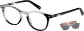 XP by vonBogen 1450 Brille mit Sonnenclip schwarz weiß